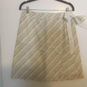 Lilly cotton seersucker wrap skirt NWOT